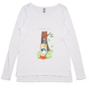 Ladies' Long-sleeved T-shirt Reading Girl